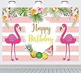 INRUI Fondo de verano para fiesta de flamencos de cumpleaños, color rosa y blanco, telón de fondo tropical hawaiano de playa, hojas de palma, flores decoraion
