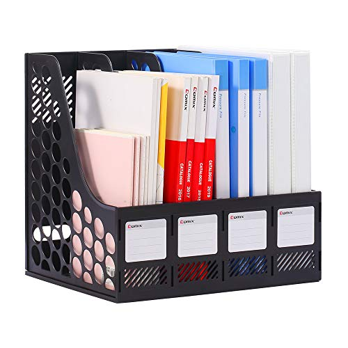 Comix Sturdy Magazine File Plastic Holder Desk Organizer File Folder for Office Organization and Storage with 4 Compartments Storage Organiser Box Black