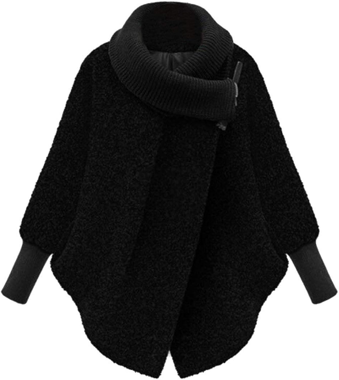 BU2H Womens Warm Turtleneck Scarf Shawl Collar Wool Blend Pea Coat