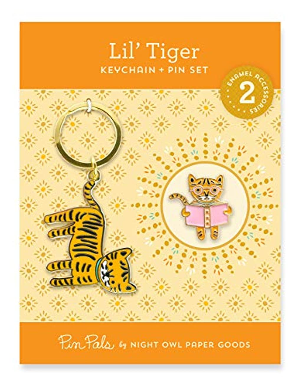 Night Owl Paper Goods Lil' Tiger Keychain & Enamel Pin Gift Set, Gold 2 Piece