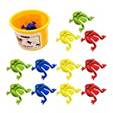 TOYANDONA 12pcs Jumping Leap Frog Toy Plastic Jumping Frogs Funny Bouncing Frog Toys for Kids Easter Birthdays Party Favors, Mixed Color
