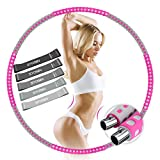 Exercise Hoop for Adults, Workout Fitness Hoops for Weight Loss and Fat Burning, Stainless Steel Exercise Hoop, Detachable and Size Adjustable with Thicker Premium Foam and Resistance Bands