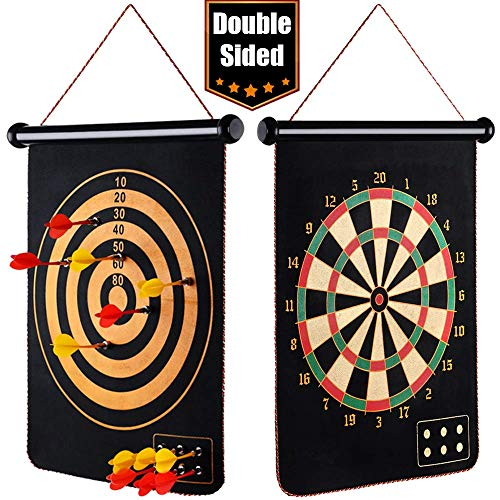 EITPOTON Magnetic Dart Board for Kids, Indoor Outdoor Board Games Set, Kids Toys Gift for Boys Girls Age 5 6 7 8 9 10 11 12 13 14 15 16 Years Old (Black, 17