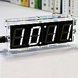 LJJOO DIY 4 Digit LED Kit de Reloj electrónico de Reloj de Control de Temperatura Componente electrónico (Color : White+Case)