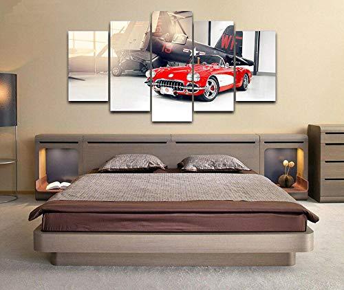 5 Panel Impresión en Lienzo Chevrolcar Corvette C1 1959 Coche 5 Cuadros Modernos Impresión de Imagen Artística Digitalizada | Lienzo Decorativo para Salón o Dormitorio
