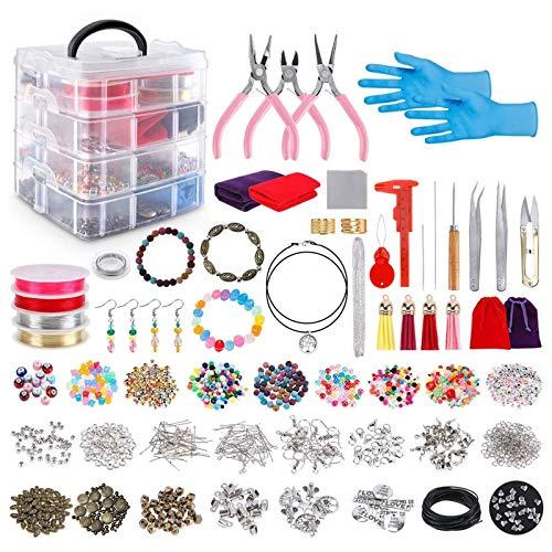 Yushu 2062pcs Kit de suministros de fabricación de joyas con cuentas variadas encantos hallazgos alicates de cuentas juguetes hechos a mano DIY