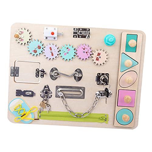 SunniMix Montessori Beschäftigt Bord für Kleinkinder Beschäftigt Bord Spielzeug Lernen zu Kleid Spielzeug für 1 2 3 4 Jahre Alten Kinder lernen Grundlegende