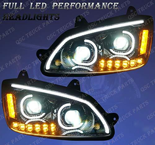 QSC Full LED Performance Black Headlight Assembly LH RH Pair for Kenworth T660