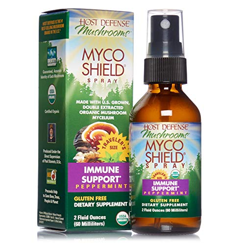 Host Defense, MycoShield Peppermint Spray, Immune Support, Mushroom Supplement with Turkey Tail, Reishi and Chaga, Vegan, Organic, 2 oz (142 Servings)