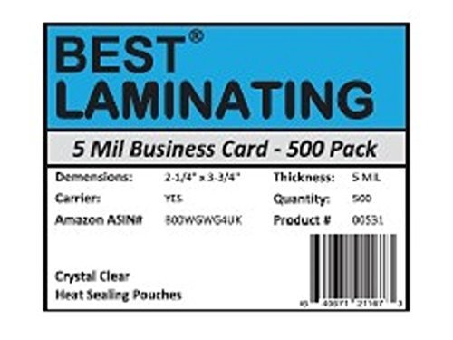 Best Laminating  5 Mil Business Card Therm Laminating Pouches  21/4 x 33/4  500 Pack