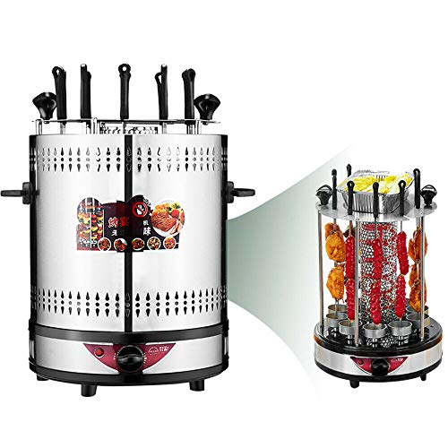 Fayelong Vertikaler Elektro-Tischgrill 360° Elektrogrill BBQ Vertikalgrill Rundgrill Gyrosspieße Dreh-Grill 10 Spieße 1350W