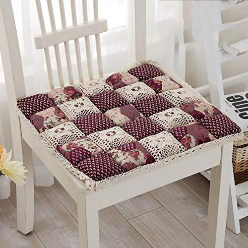 Cojín Silla Cojin Asiento Cojines para silla al aire libre, cojines de asiento Confort Cojín Silla Almohadillas de asiento Cojín de silla antideslizantes para jardín Cocina, 48 * 48cm ( Color : H )