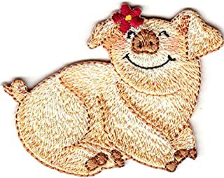 PIG w/DAISY Iron On Patch Piglet Piggy Pigs Farm Animal