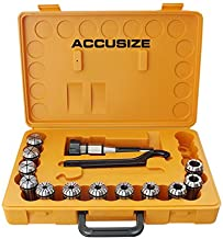 Accusize Industrial Tools 12 Pc Er-32 Collet Set Plus 1 Pc R8 Bridgeport Shank Holder and a Wrench in Fitted Box, 0223-0974