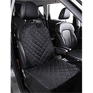 Alfheim Dog Bucket Seat Cover – Nonslip Rubber Backing with Anchors for Secure Fit – Universal Design for All Cars, Trucks & SUVs (Black) Gift:ONE PET CAR SEAT Belt