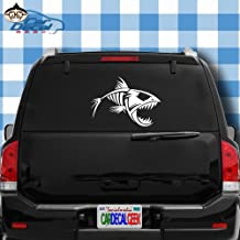 Car Decal Geek Fish Skeleton Vinyl Decal Sticker Bumper Cling for Car Truck Window Laptop MacBook Wall Cooler Tumbler | Die-Cut/No Background | Multi Sizes/Colors White, 20
