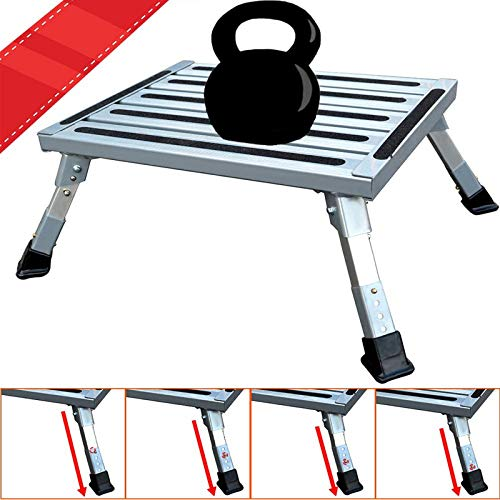 FLSEPAMB RV Step, Aluminum Folding Platform Step,RV Step Stool with Non-Slip Rubber Feet, Reflective Stripe, Grip Handle, RV T Level, More Stable Supports Up to 1000 lbs