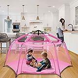 """Alvantor Parque Play Patio Espacio Canopy Valla Pin 6 Panel Pop Up Plegable y Portátil Ligero Seguro Interior Exterior Bebés Bebés Niños Niños Niños Niños 7'x7'x44"""" Rosa Patente"""