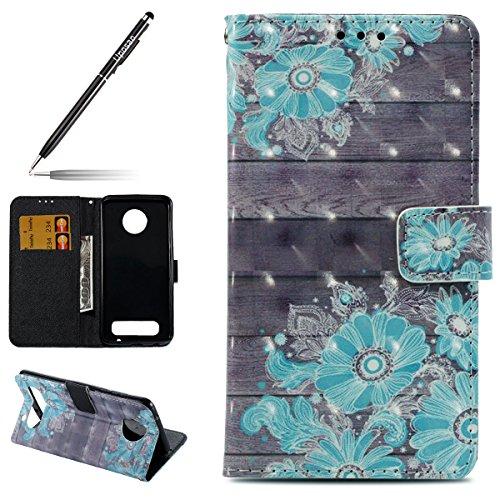Uposao Kompatibel mit Handyhülle Motorola Moto Z2 Play Handytasche 3D Glitzer Glänzend Handytasche Bookstyle Klappbar Flip Hülle Cover Lederhülle Ledertasche Schutzhülle Klapphülle,Blau Blumen
