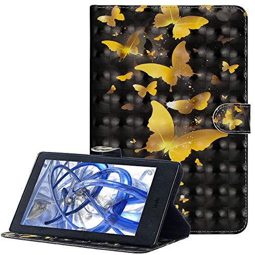 A-BEAUTY Hülle für Amazon Fire 7 (9th/7th/5th Gen - 2019/2017/2015 Modell), Premium 3D Glänzend Gemaltes Muster PU Leder Flip Brieftasche Ständer Schutzhülle, 3D Gold Schmetterling
