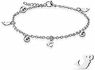 Delfino penzoloni e catena con ciondolo a sfera in acciaio inossidabile 316L Cavigliera/bracciale