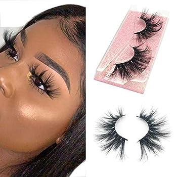 SWINGINGHAIR 3D Mink Lashes 25mm Dramatic Long Type False Eyelashes 100% Siberian Mink Fur Eyelashes Natural Layered Effect Handmade Strips Lashes Reusable Real Fake Eyelashes for Women 1 Pair E80