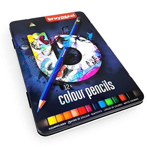 Bruynzeel Buntstifte - 12 Mischfarben in einer Metallbox - Blue Edition