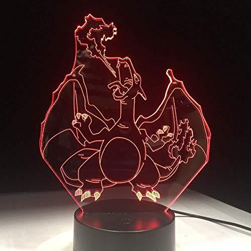 Nachtlicht 3D Tischlampe Pokemon Lampe Charizard Form 7 Farbwechsel Nachtlicht 3D Tischlicht