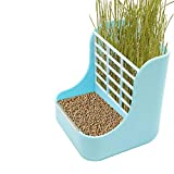 AQUEENLY Hay Feeder, 2 in 1 Food and Hay Feeder Rack for Rabbit, Guinea Pig and Other Small Animals, Blue