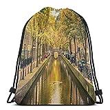 Bolsa de deporte con cordón, para gimnasio, cincha, viaje, para mujeres, hombres, niños, puente sobre el canal en la capital de Holanda con árboles, coches, bicicletas