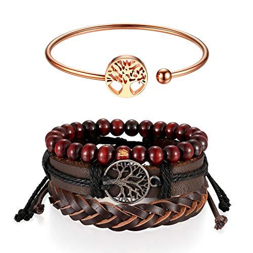 Aroncent Armbandenset, met levensboom design, meerlagige verstelbare armsieraden, handgeweven armband