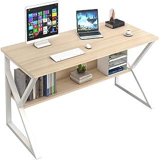 Plasaig Bureau Informatique Secrétaire Bureau d'ordinateur en Forme de K Table Plan de Travail avec étagères Cadre métal 1...