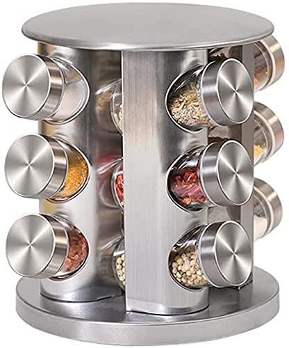 BERTY·PUYI Torre per Spezie Rotante da 12 Barattoli da Appoggio, Set di Barattoli per Condimenti in Vetro in Acciaio Inossidabile, Organizzatore per La Conservazione delle Spezie da Cucina