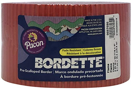 """Bordette Scalloped Decorative Border P37034, 2-1/4"""" x 50', Flame, 1 Roll Photo #5"""