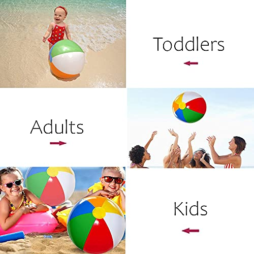 4E's Novelty Beach Balls for Kids [3 Pack] Large 20 inch Inflatable Beach Ball, Rainbow Color - Pool Toys for Kids, Beach Toys, Summer Toys, Summer Birthday Party Favors
