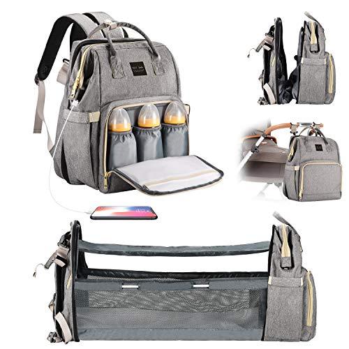 Cali Jade Multifunktional Wickeltasche mit Wickelauflage und Kinderwagengurte, Wickeltasche mit USB-Ladeanschluss Wasserdichte Große Kapazität für Schlaf Unterwegs Ausflug Tour