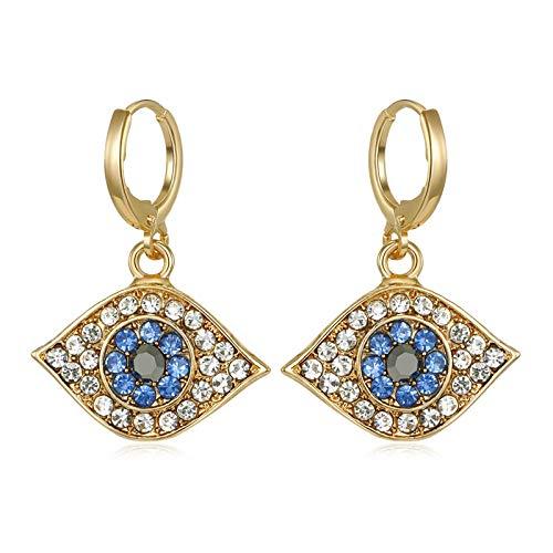 Pendientes Mujer Mini Pendientes De Aro Azul con Diamantes De Imitación para Mujer Y Hombre, Colgante Geométrico Punk, Pendiente Circular, Joyería