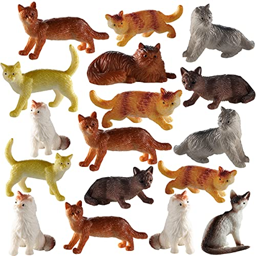 Cat Figurines - (Pack of 24) 2 Inch Plastic Toy Cats - Assorted Kitty Figure Set Gift for Kids - Use as Cupcake and Cake Toppers, Birthday Party Supplies, Decorations, Goodie Bag Favors