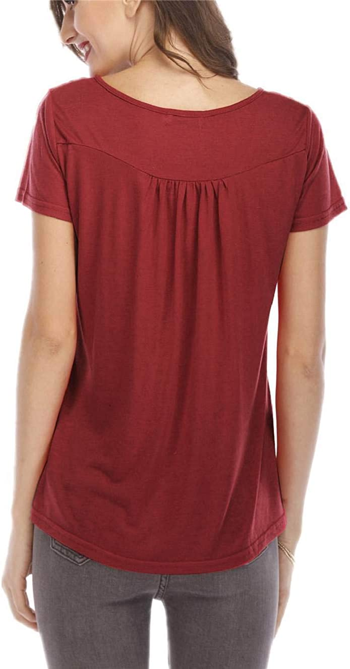 CMTOP Camisetas Mujer Manga Corta Tallas Grandes Cuello V Casual Blusa Suelta T Shirt Verano Camisa