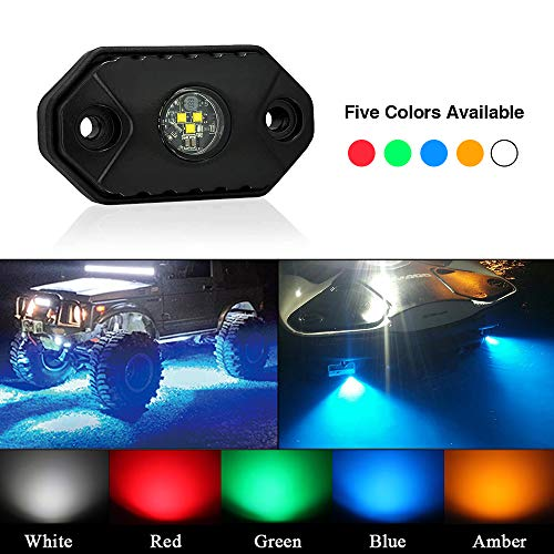 TSAUTO LED Rock Lights IP68 IP69K Waterproof Underbody Glow Trail Rig Lamp CREE Underglow Deck Accent light(FBA Delivery) Crawling Lamp Interior Exterior for Truck Jeep ATV UTV Offroad(White)
