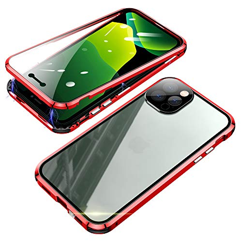 Jonwelsy Magnetic Adsorption Case for iPhone 12 Pro(6.1 inch), 360 Degree Full Body Front and Back Clear Tempered Glass Flip Cover, Metal Bumper Frame with Lens Protection for iPhone 12Pro (Red)
