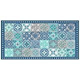 douceur d'intérieur tapis rectangle 50x100 cm vinyle alicante bleu