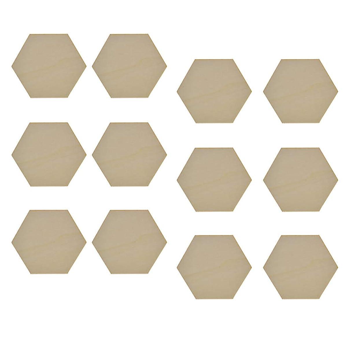 散らす悲観的アーチ#N/A 木製タグ 木材チップ 木片 木製カード 装飾用木材チップ DIY 工芸品 材料 約12個 全4選択 - 六角形
