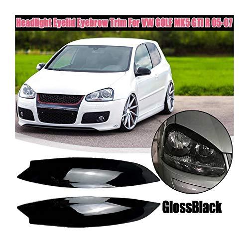 Autoscheinwerferblenden Aufkleber Für VW Für Volkswagen Für Golf 5 GTI R 2005 2006 2007 1 Paar Scheinwerferblenden Eyelids Scheinwerfer Augenbrauen Eyelids Zubehör Styling ( Color : Schwarz glänzend )