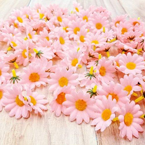 JZK 100 Margherita gerbera rosa finta fiorellini finti bomboniere coriandoli decorazione tavola matrimonio cerimonia Natale fiore artificiale corolla fiore stoffa