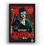 Sylvester Stallone de la película Cobra - Pintura Enmarcado Original, Imagen Pop-Art, Impresión Póster, Impresion en Lienzo, Cuadro, Cómics, Cartel de la Película