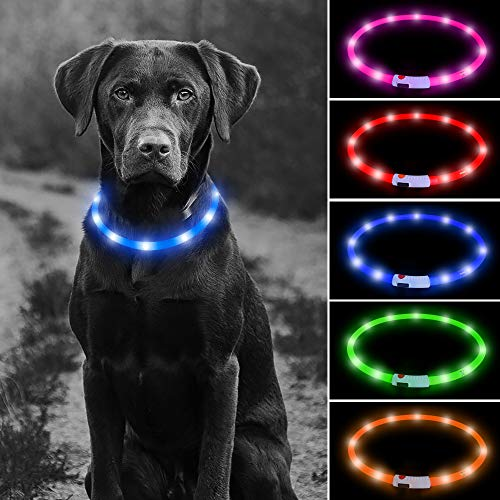 Higo LED Dog Collar, USB Rechargeable Glowing Safety Collar, Silicone DIY Cuttable Light Up Collars for Your Small Medium Large Dogs (Blue)