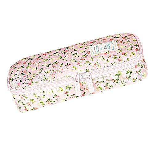 Butterem Trousse à crayons en nylon avec motif floral Grande capacité Rose clair