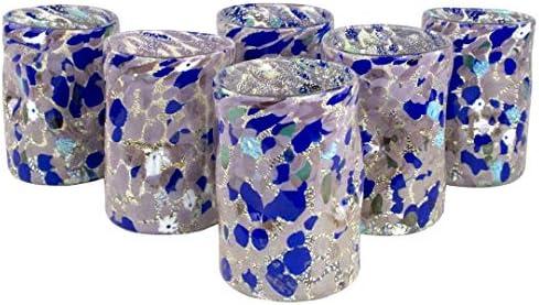 Juego de 6 vasos – Goto violeta – Cristal de Murano original OMG
