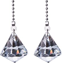2PCS Clear Pull Chain Crystal Prisms Drop Pendant Pull Chain for Ceiling Fan Light Decoration 50cm Extension Chain with Gi...